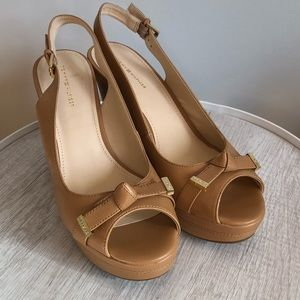 Tommy Hilfiger Tan Peep Toe Wedges with Bow Accent
